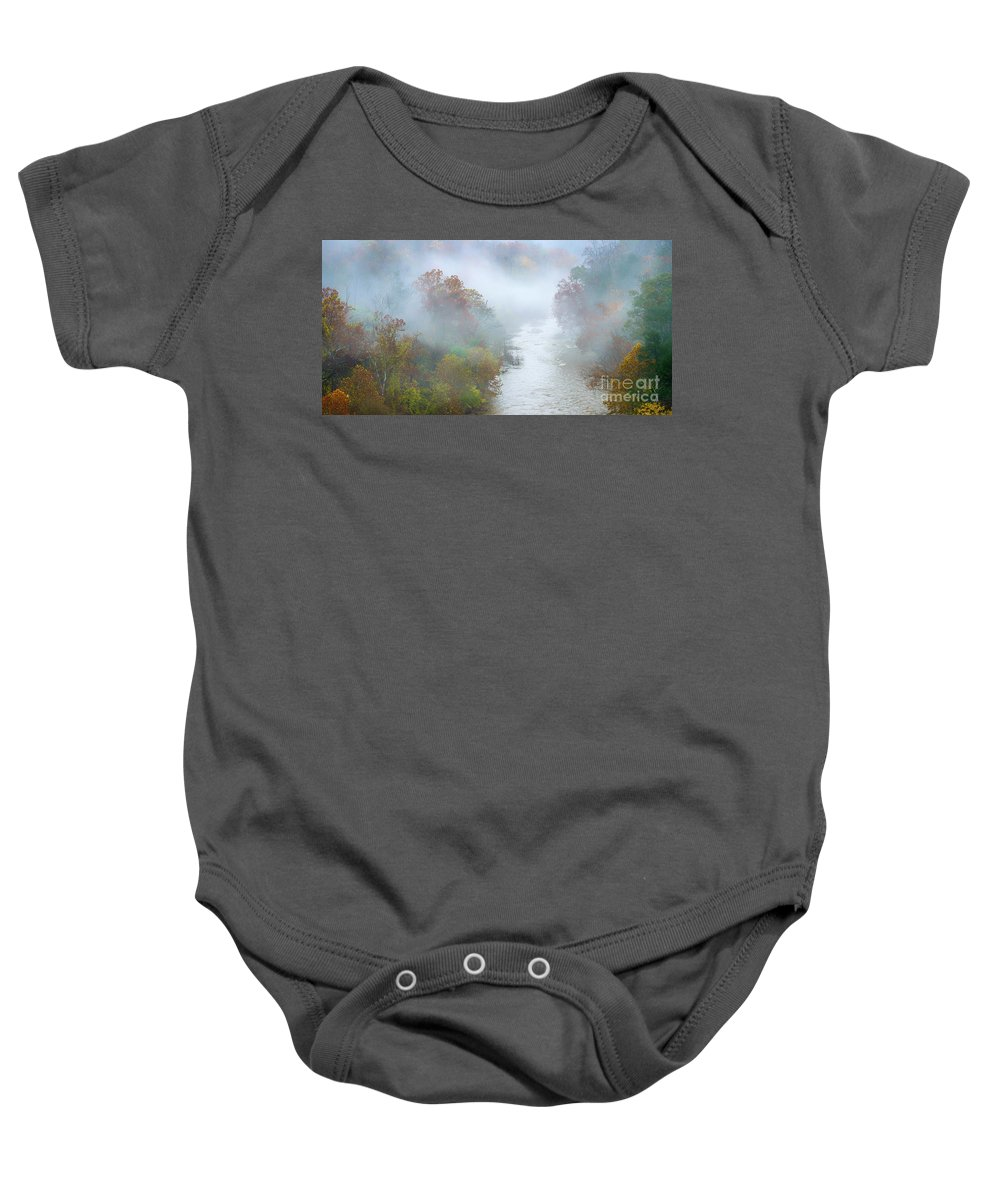 Autumn Baby Onesie featuring the photograph Roanoke River And Fog by Thomas R Fletcher