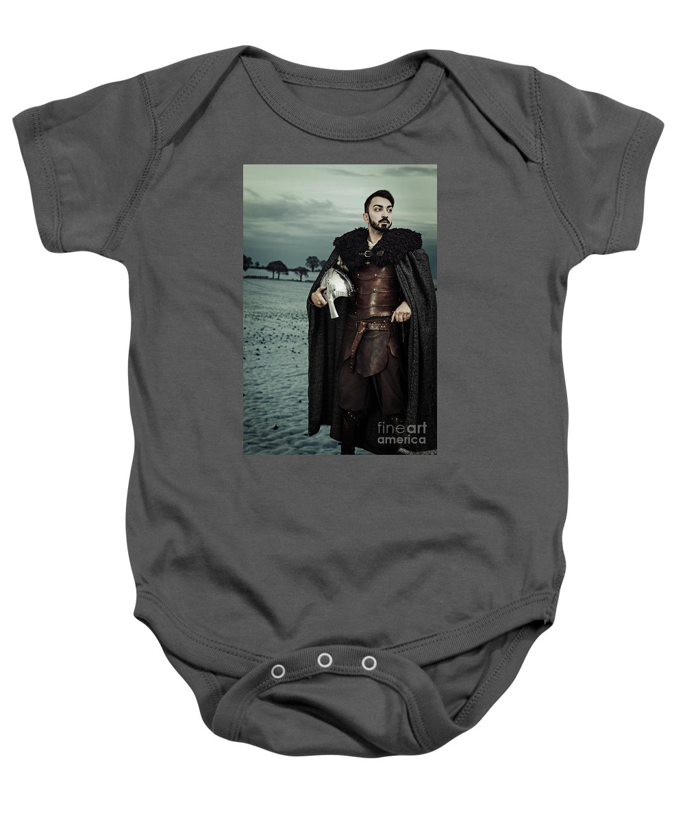 Got Baby Onesie featuring the photograph Robed Viking With Helmet by Amanda Elwell