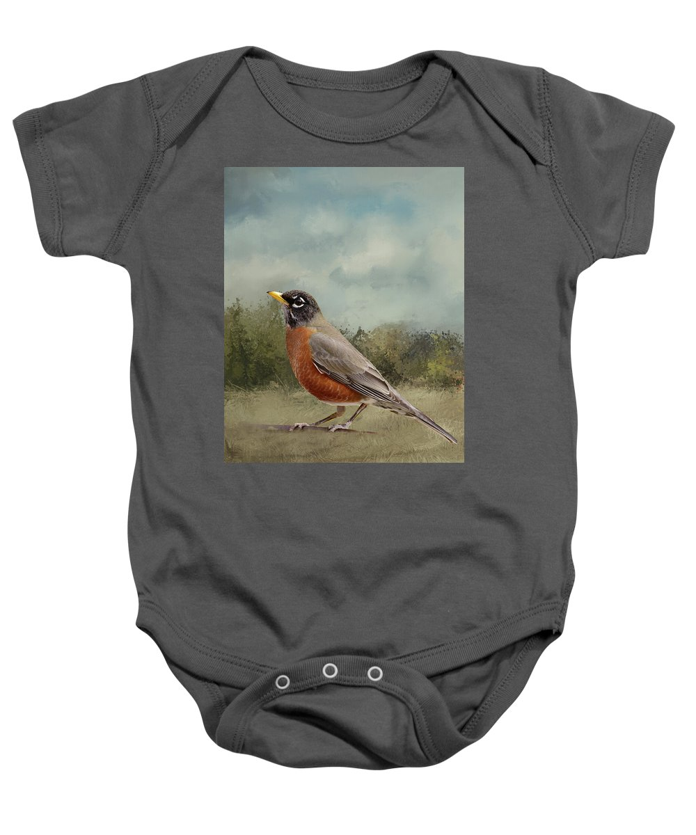Linda Brody Baby Onesie featuring the digital art Robin Abstract Background by Linda Brody