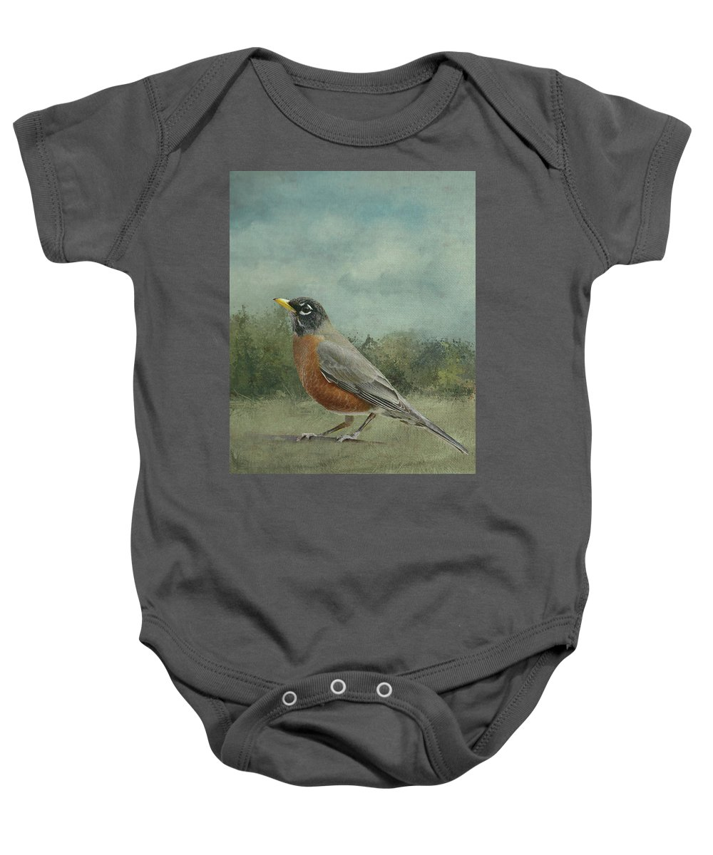 Linda Brody Baby Onesie featuring the digital art Robin Abstract Background With Texture by Linda Brody