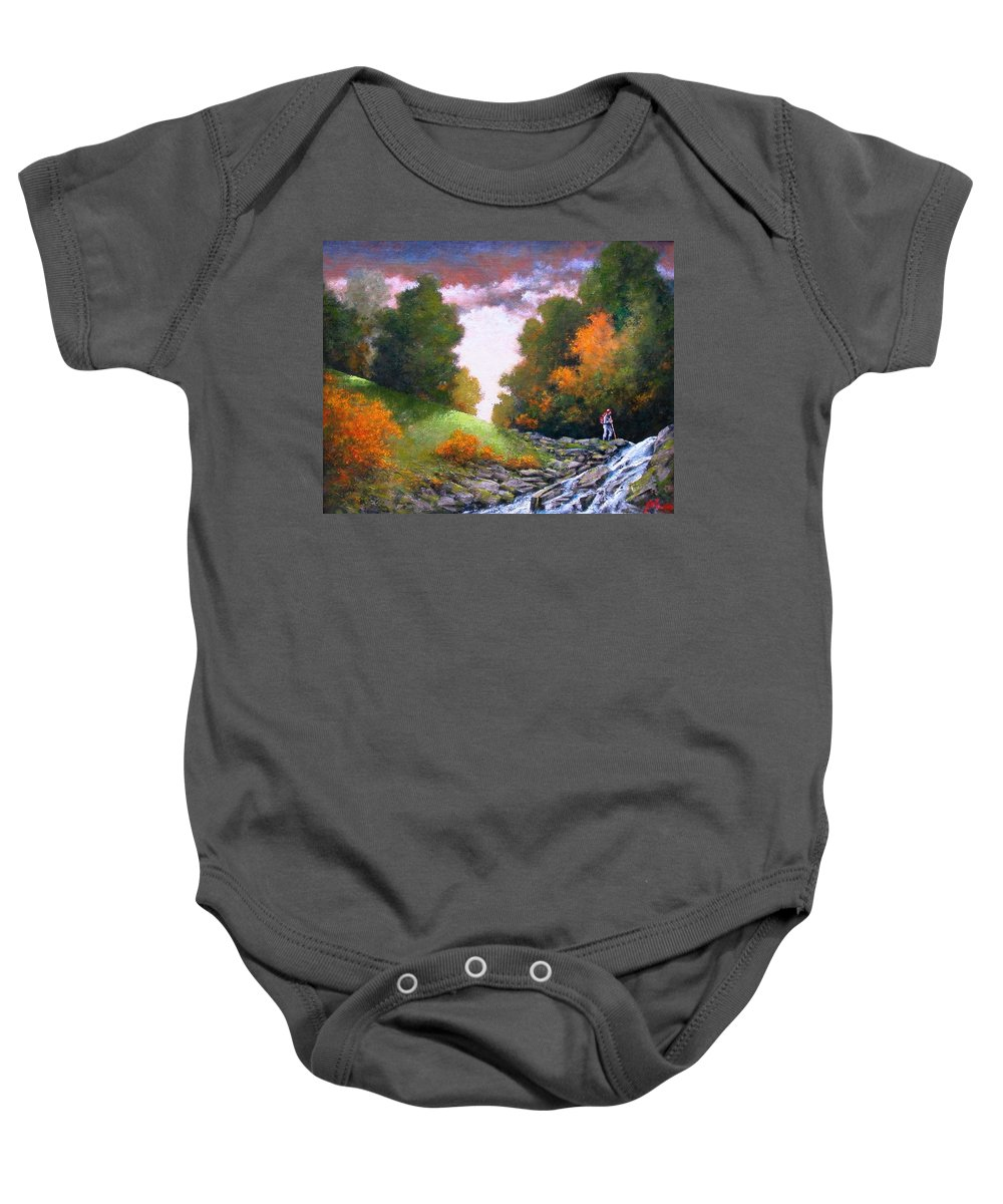 Artist Baby Onesie featuring the painting Rock Creek by Jim Gola