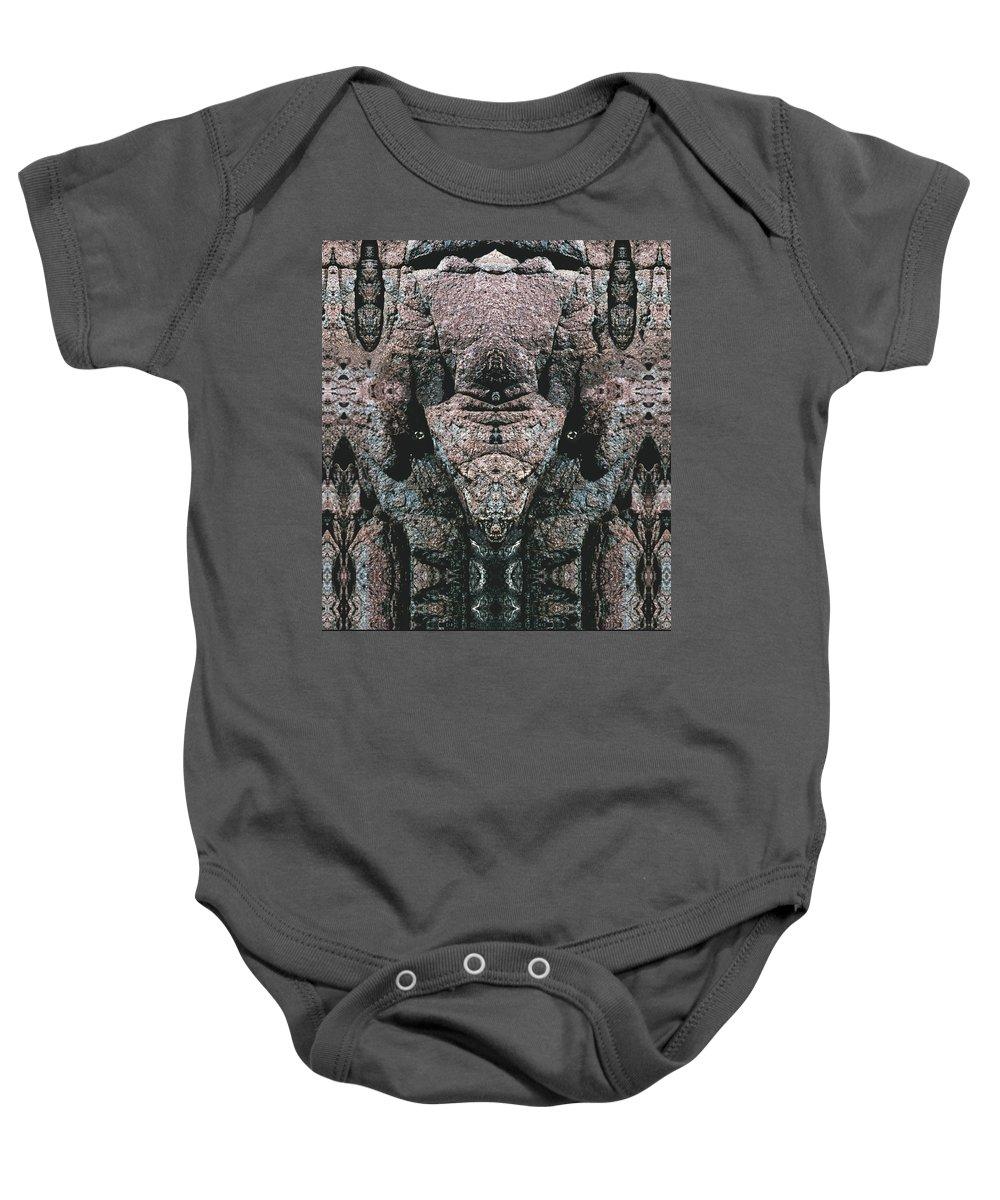 Rocks Baby Onesie featuring the digital art Rock Gods Elephant Stonemen of Ogunquit by Nancy Griswold