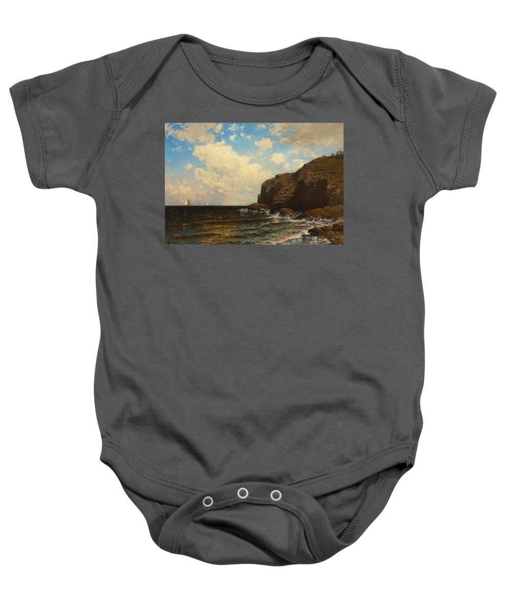 Alfred Thompson Bricher Baby Onesie featuring the painting Rocky Coast With Breaking Waves by Alfred Thompson