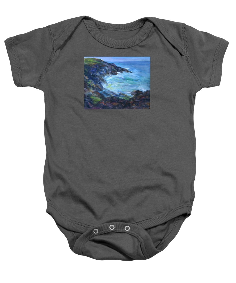 Quin Sweetman Baby Onesie featuring the painting Rocky Creek Viewpoint by Quin Sweetman