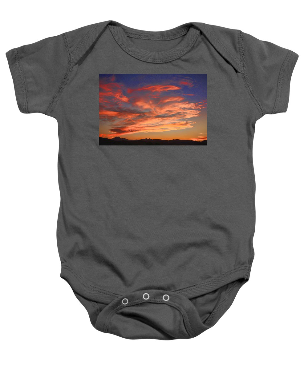 twin Peaks Baby Onesie featuring the photograph Rocky Mountain Front Range Sunset by James BO Insogna