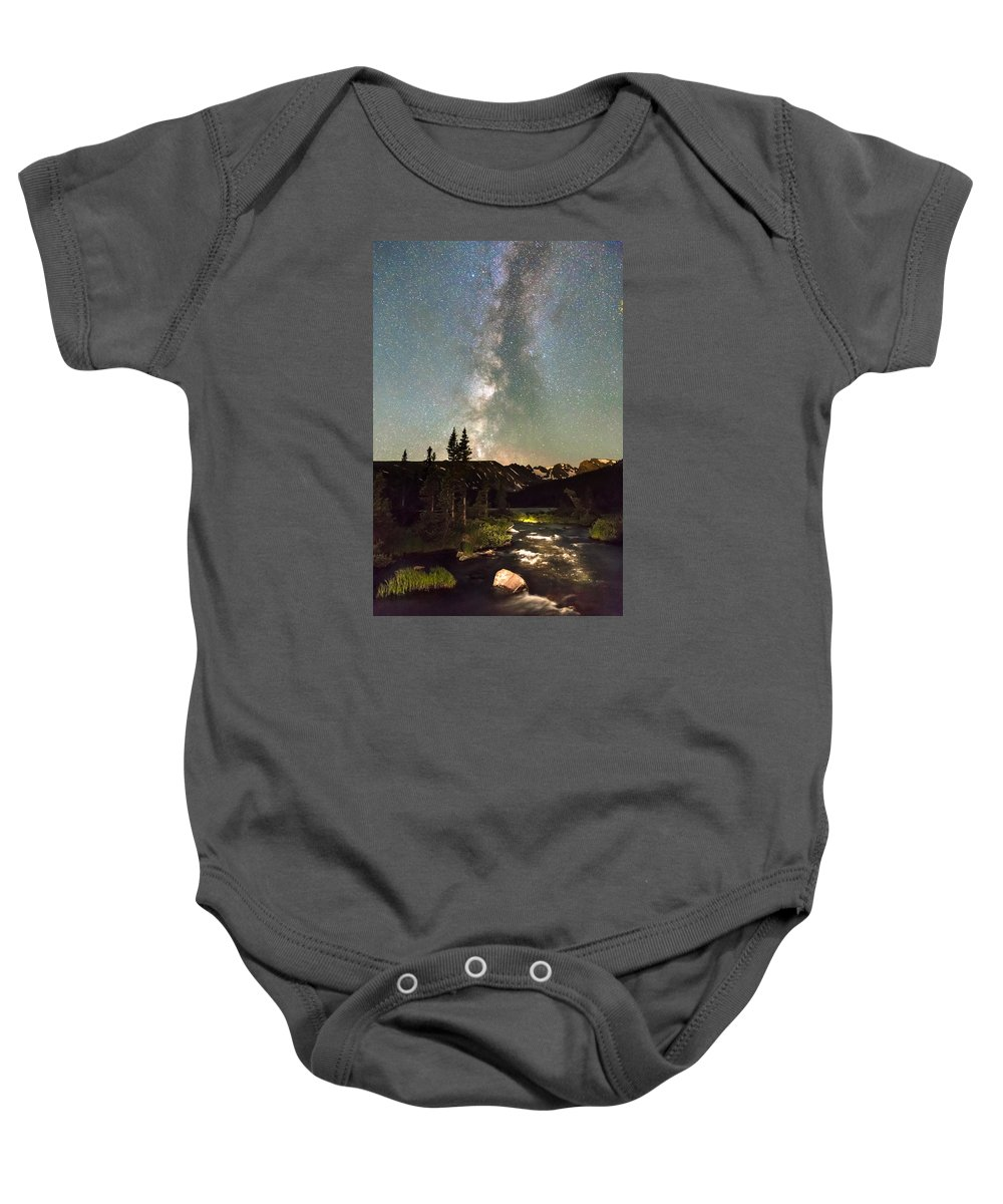 Stars Baby Onesie featuring the photograph Rocky Mountain Night by James BO Insogna