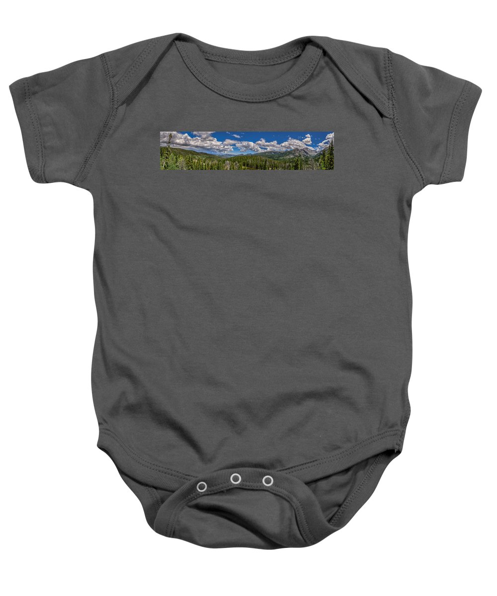 Overlook Baby Onesie featuring the photograph Rocky Mountain Overlook by Gary Mosman
