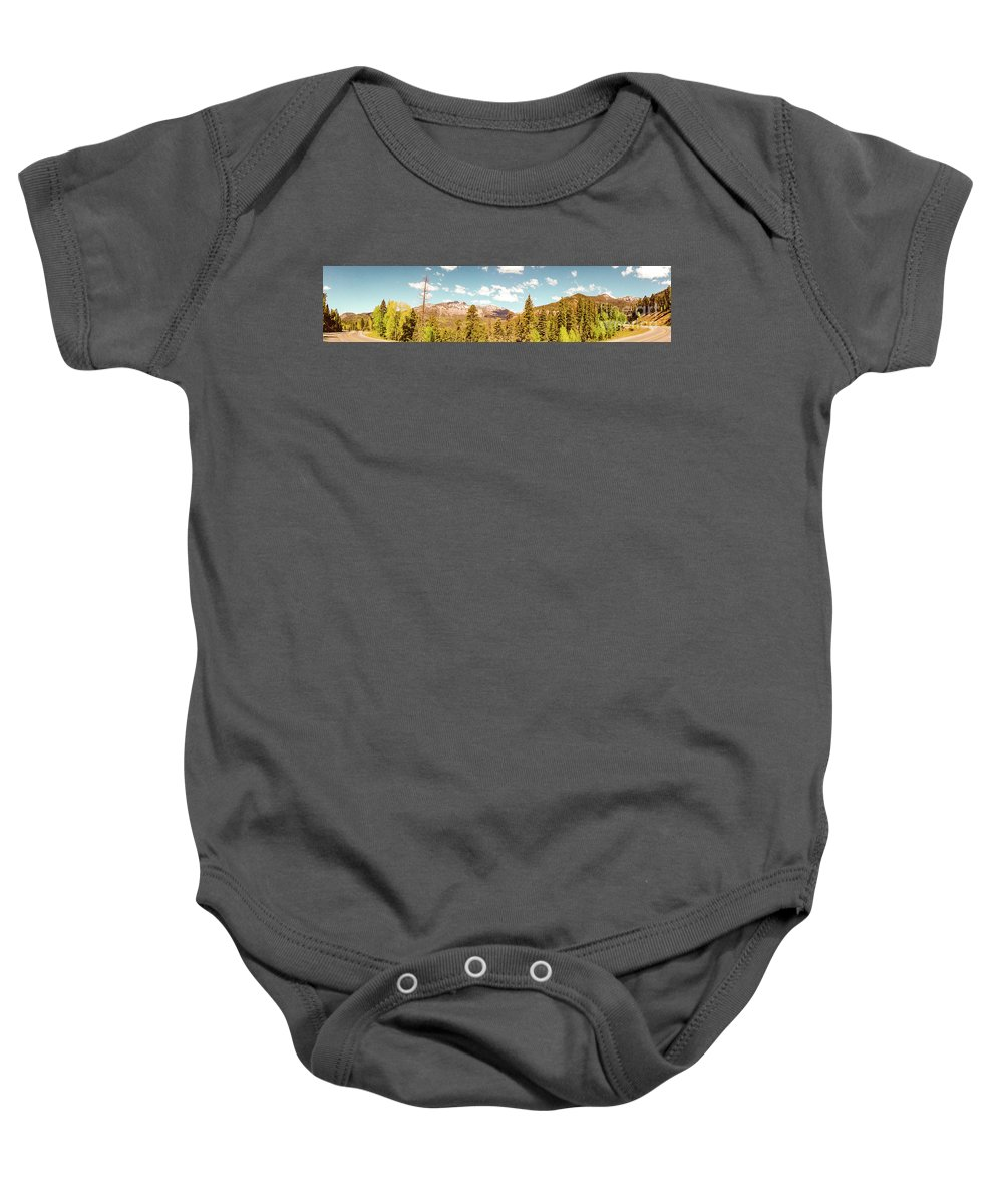 Rocky Baby Onesie featuring the photograph Rocky Mountain Panorama Too by George Lehmann