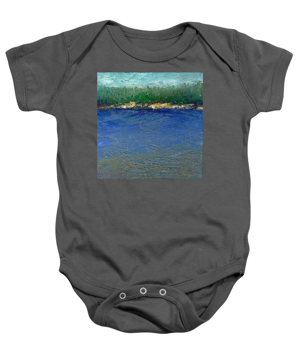 Rocky Point Baby Onesie featuring the painting Rocky Point Dream At Bass Lake by Shannon Grissom
