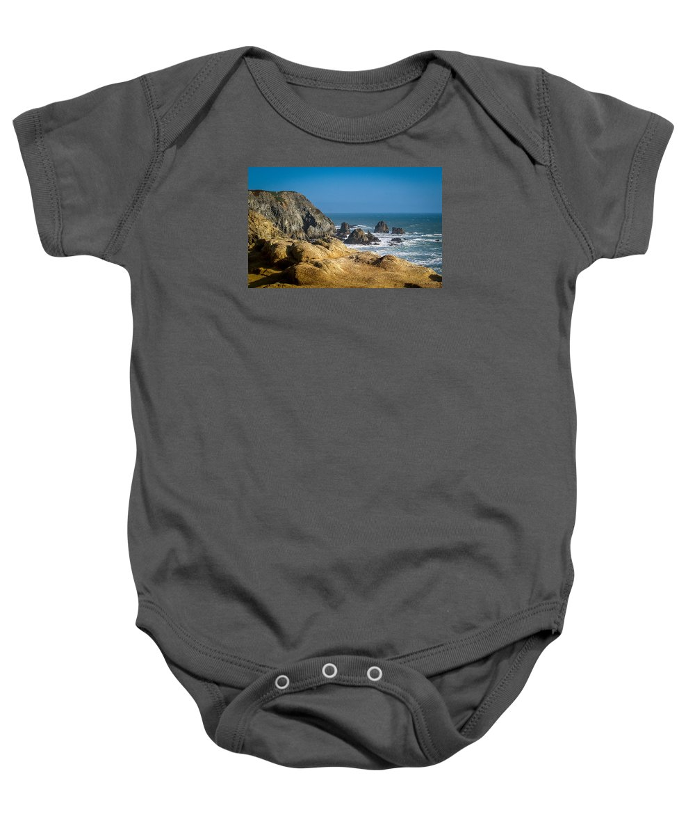 Landscape Baby Onesie featuring the photograph Rocky Shore by Cyril Matthews