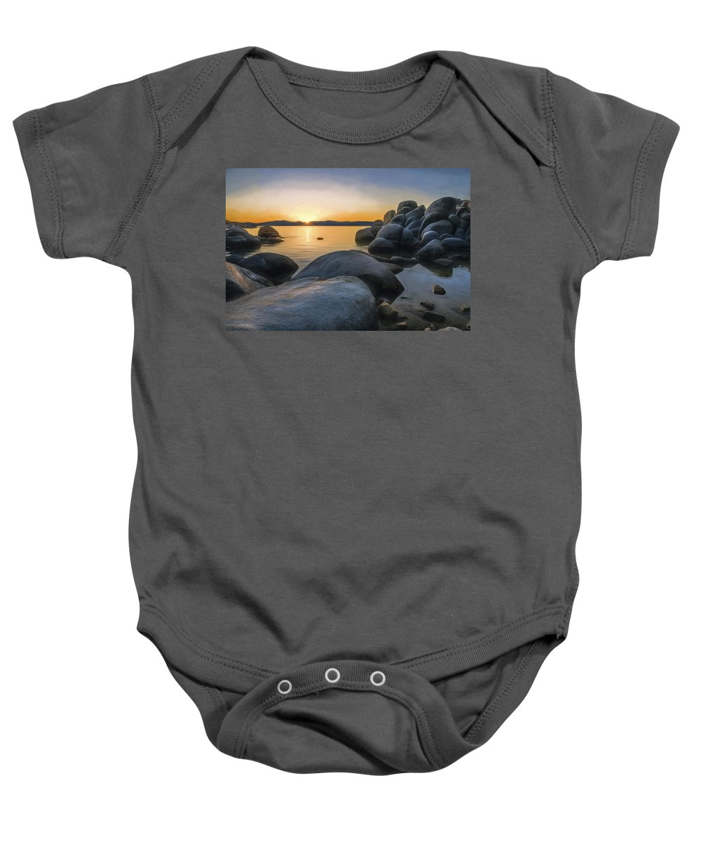 Landscape Baby Onesie featuring the photograph Rocky Shore by Maria Coulson