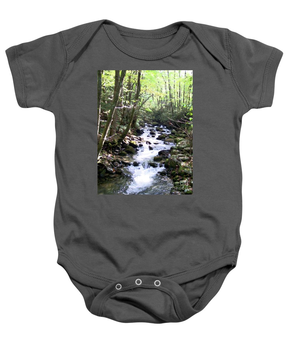 Wooded Stream Baby Onesie featuring the mixed media Rocky Stream 6 by Desiree Paquette