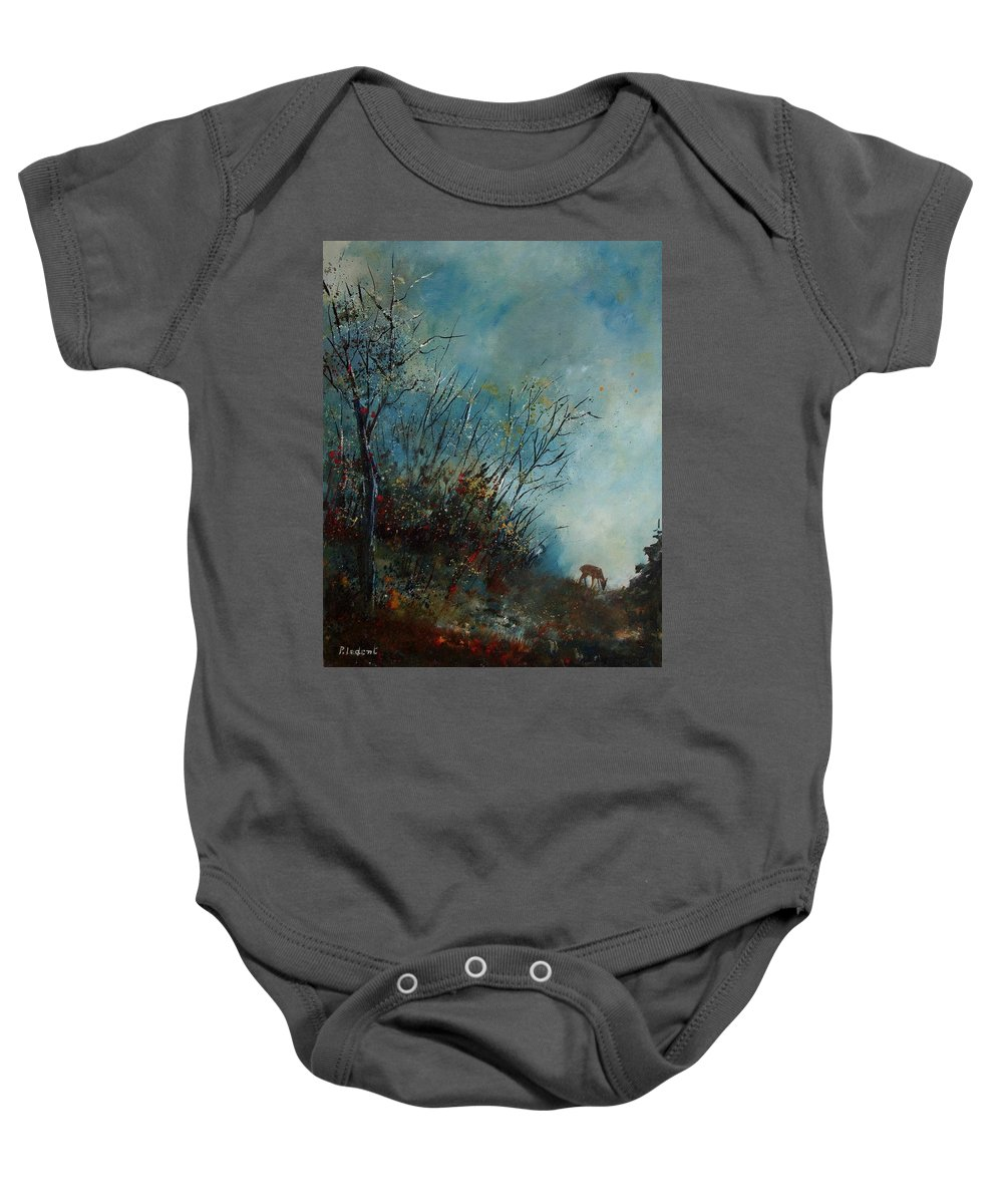 Animal Baby Onesie featuring the painting Roedeer In The Morning by Pol Ledent