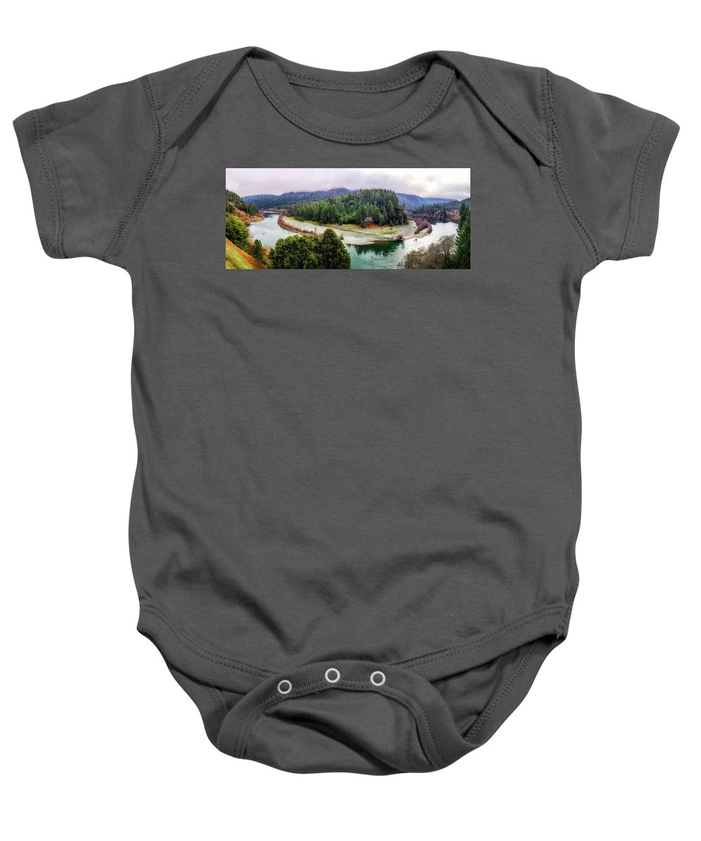 River Baby Onesie featuring the photograph Rogue River Bend Pano by Chris Sveen
