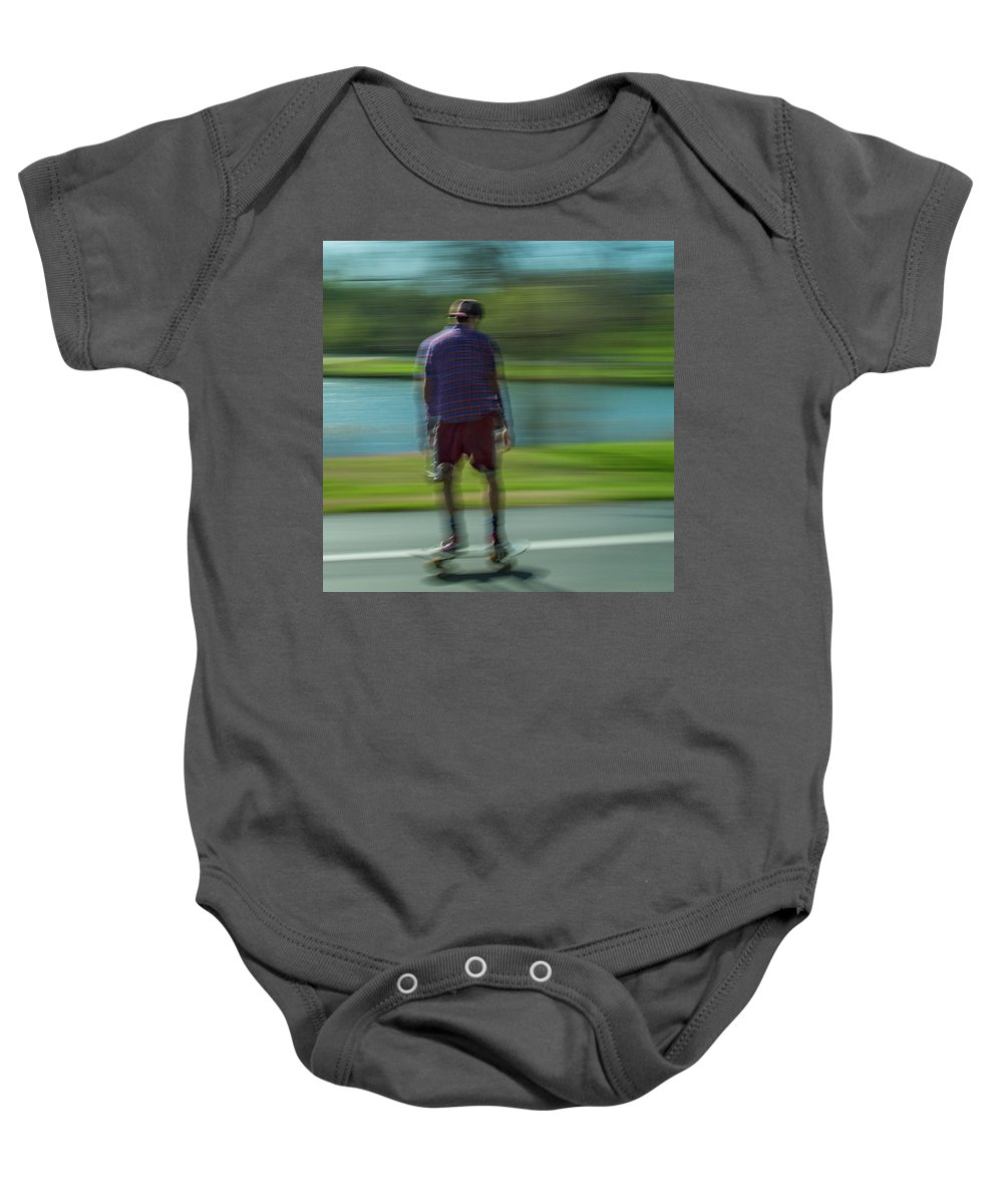 Forest Park Baby Onesie featuring the photograph Rollerbladers In Forest Park by Garry McMichael