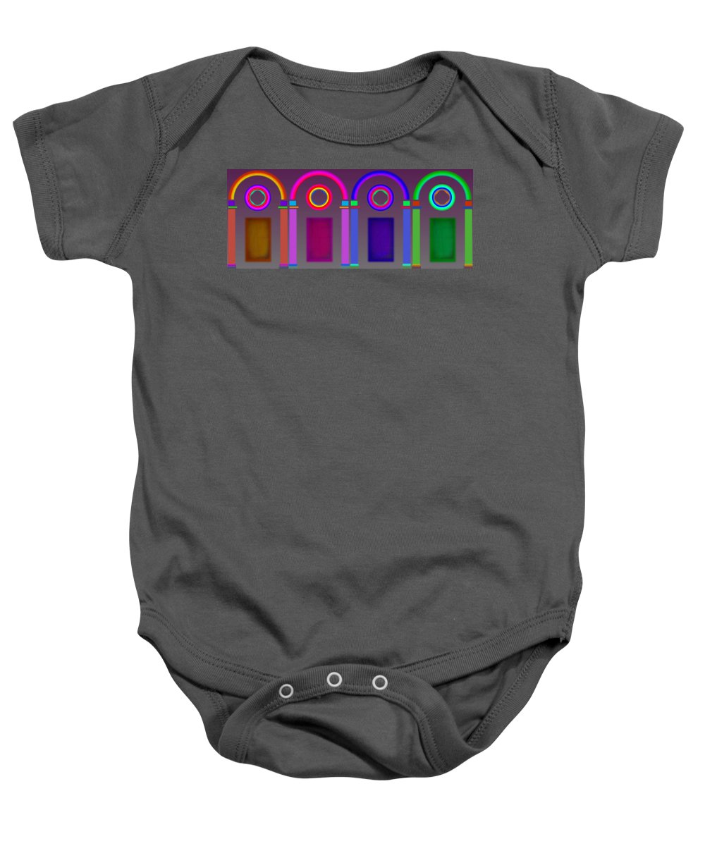 Classical Baby Onesie featuring the digital art Roman Arches by Charles Stuart