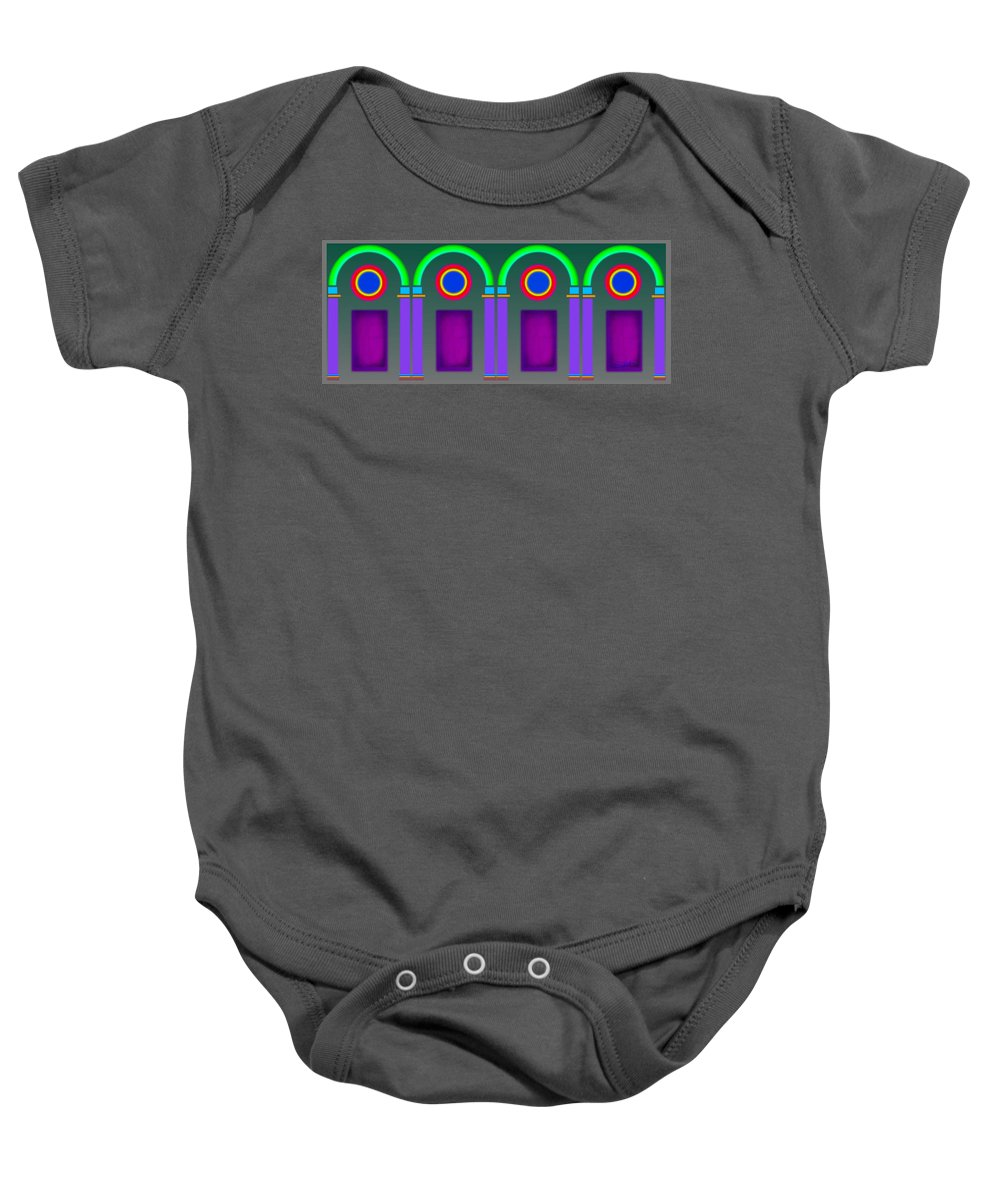 Classical Baby Onesie featuring the painting Roman Arctiecture Doors by Charles Stuart