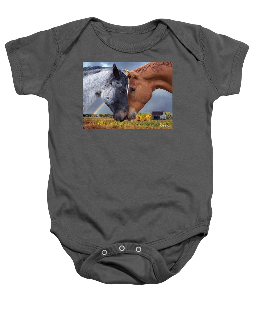 Horses Baby Onesie featuring the mixed media Romance by Bill Stephens