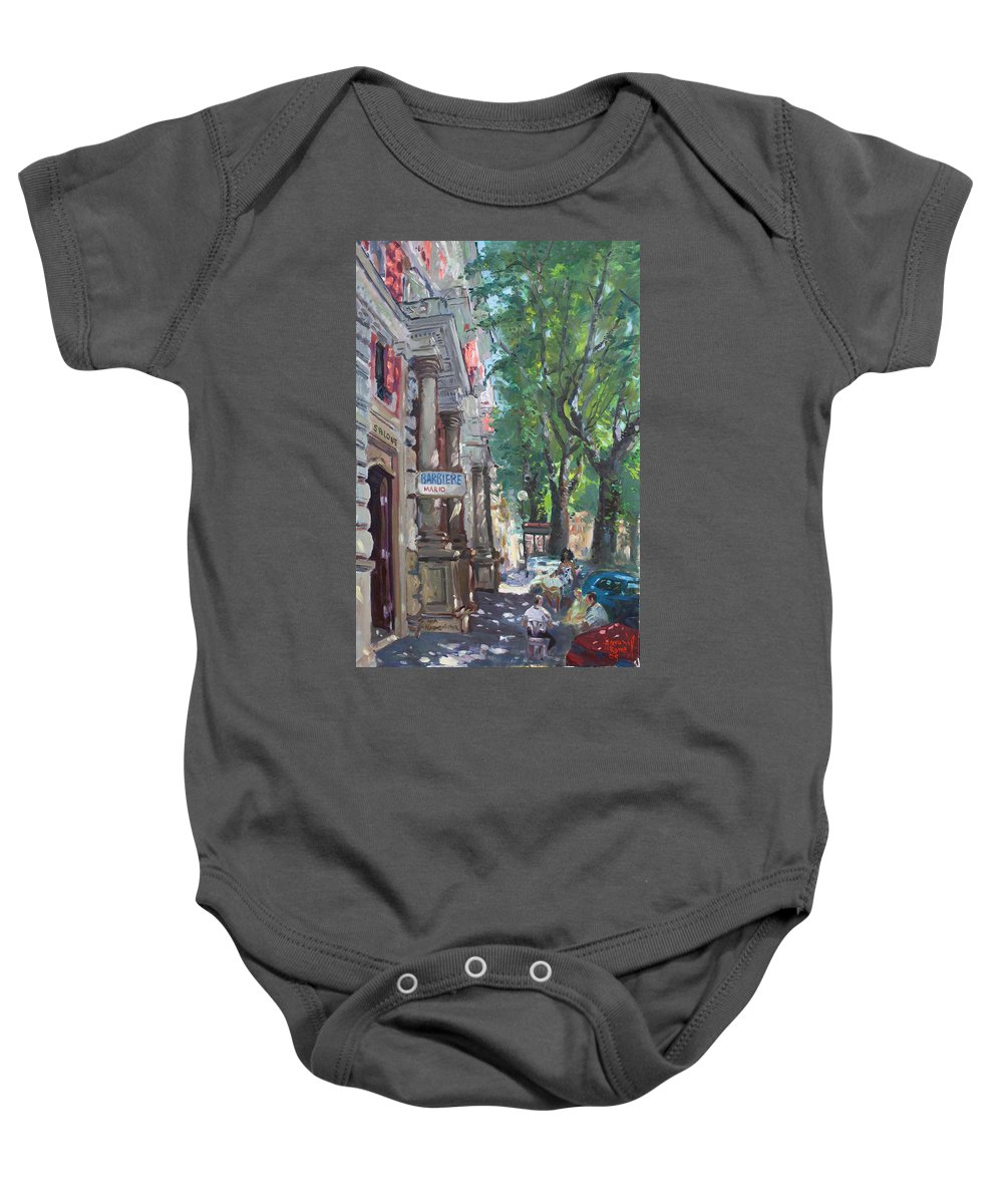 Rome At Barbiere Mario Baby Onesie featuring the painting Rome A Small Talk By Barbiere Mario by Ylli Haruni