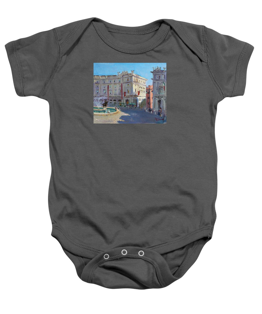 Rome Baby Onesie featuring the painting Rome Piazza Republica by Ylli Haruni