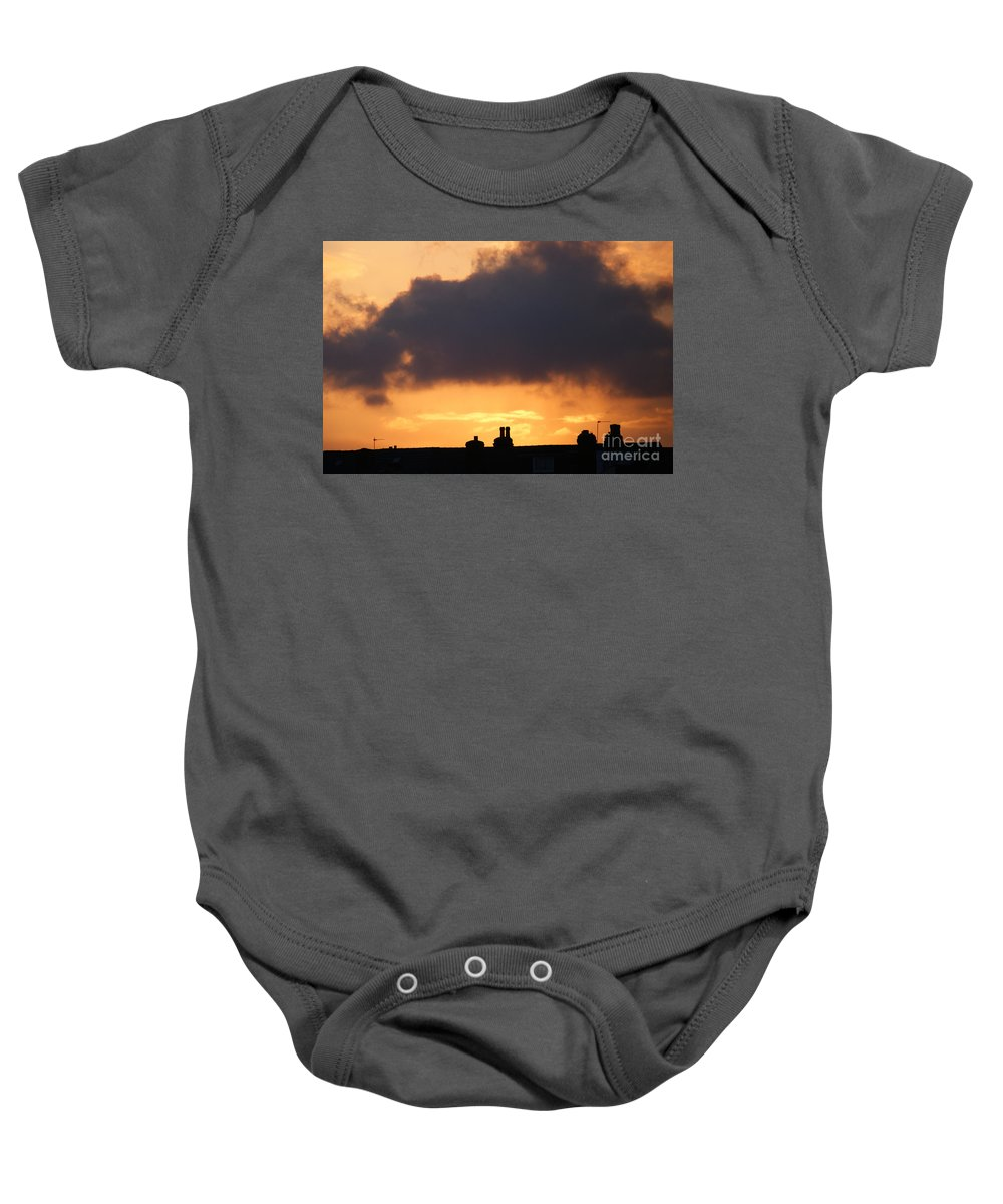 Sunset Baby Onesie featuring the photograph Rooftop Sunset by Carol Lynch