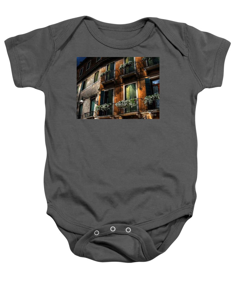 Venice Baby Onesie featuring the photograph Rooms With A View by Lois Bryan