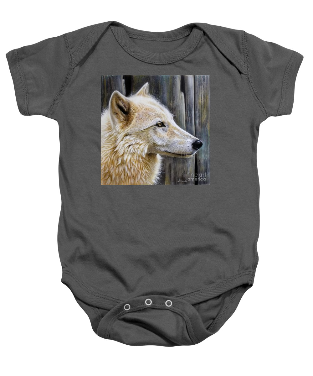Wolves Baby Onesie featuring the painting Rose by Sandi Baker