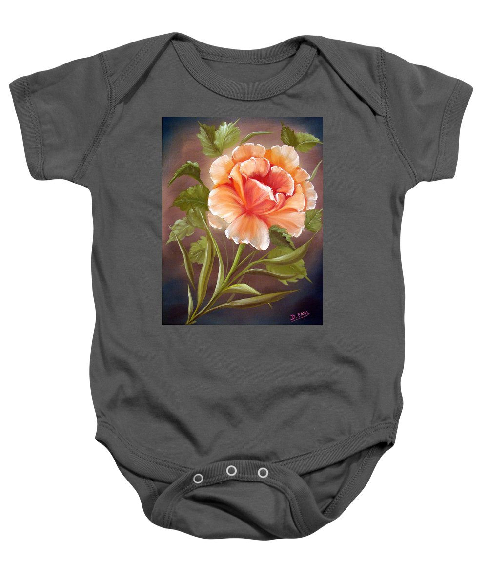 Rose Baby Onesie featuring the painting Rose Tropicana by David G Paul