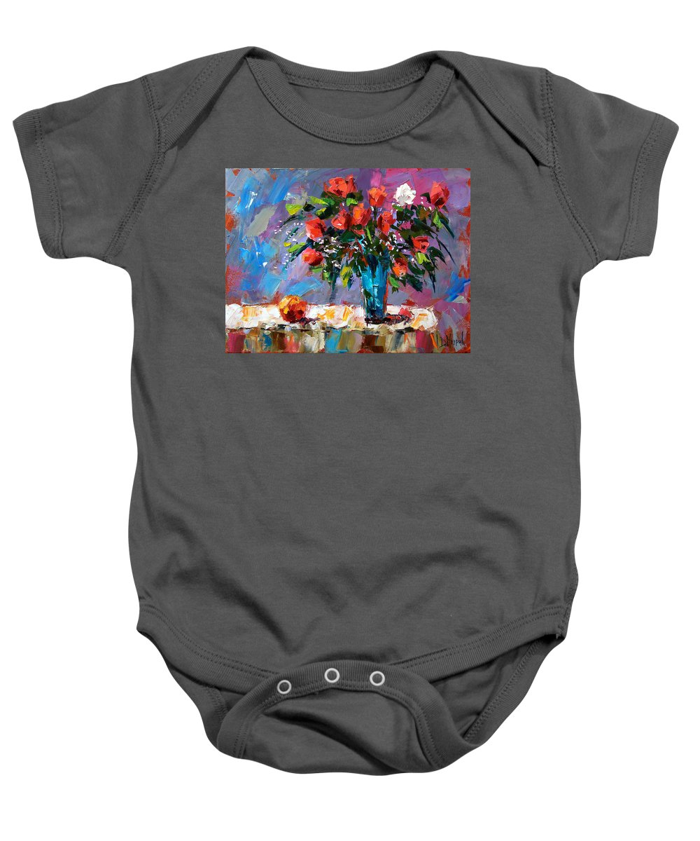 Flowers Baby Onesie featuring the painting Roses And A Peach by Debra Hurd