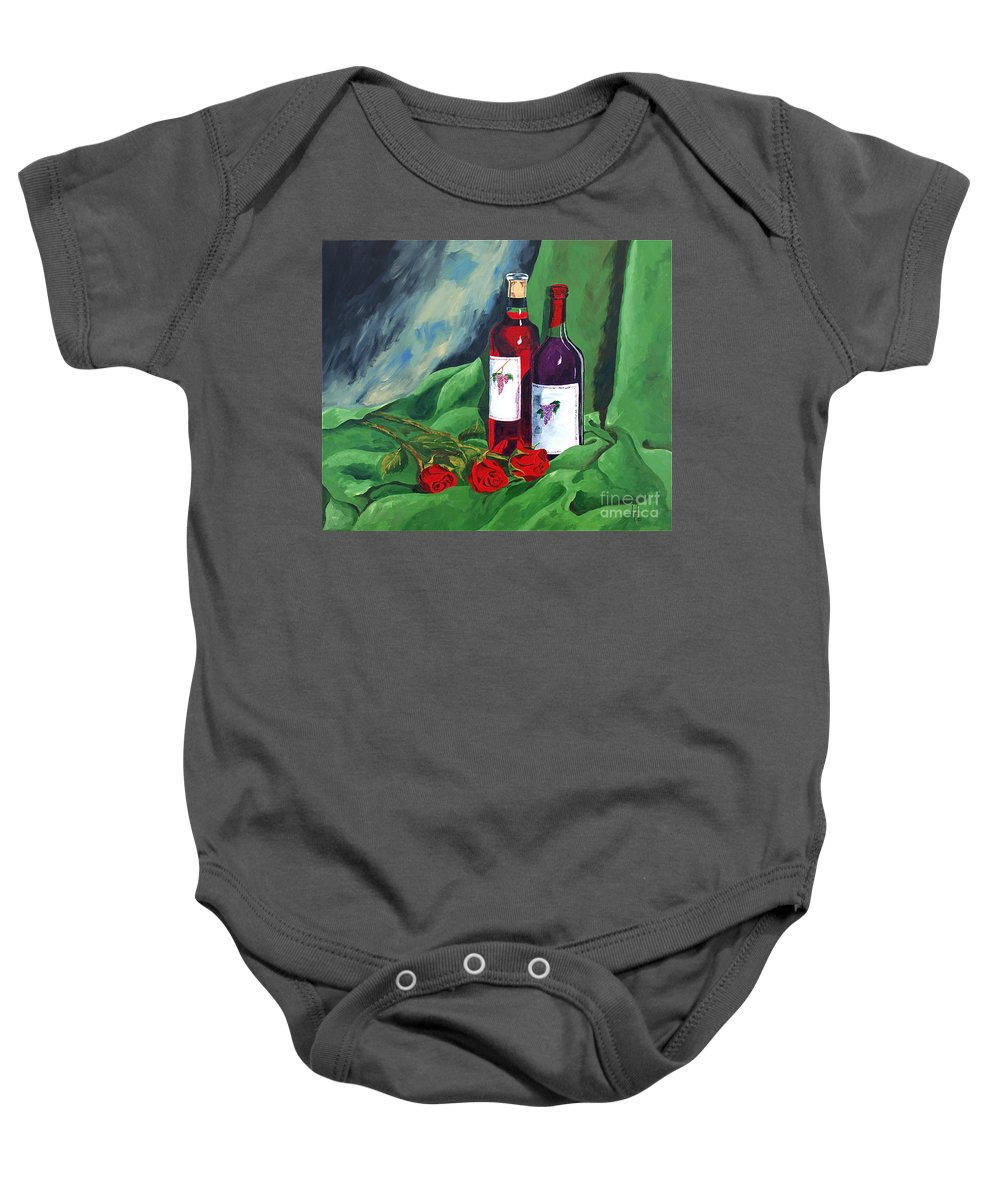 Wine And Roses Red Roses Red Wine Still Life Baby Onesie featuring the painting Roses And Wine by Herschel Fall