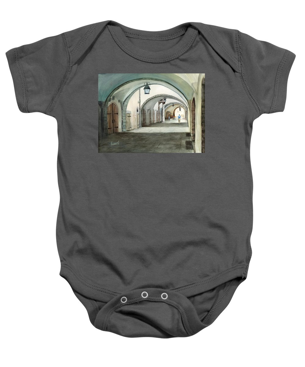 Germany Baby Onesie featuring the painting Rothenburg Backstreet by Sam Sidders