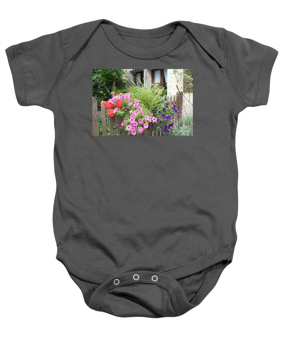 Garden Baby Onesie featuring the photograph Rothenburg Flower Box by Carol Groenen