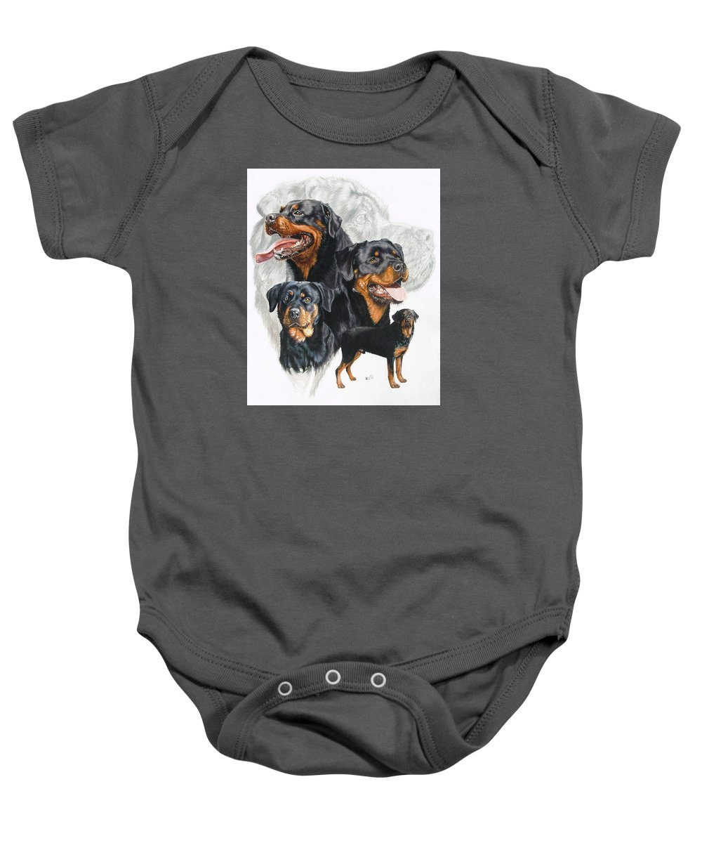 Rottweiler Baby Onesie featuring the mixed media Rottweiler W/ghost by Barbara Keith
