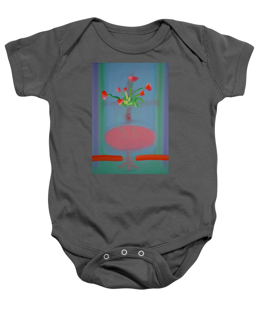 Flower Baby Onesie featuring the painting Rouseau Flowers by Charles Stuart