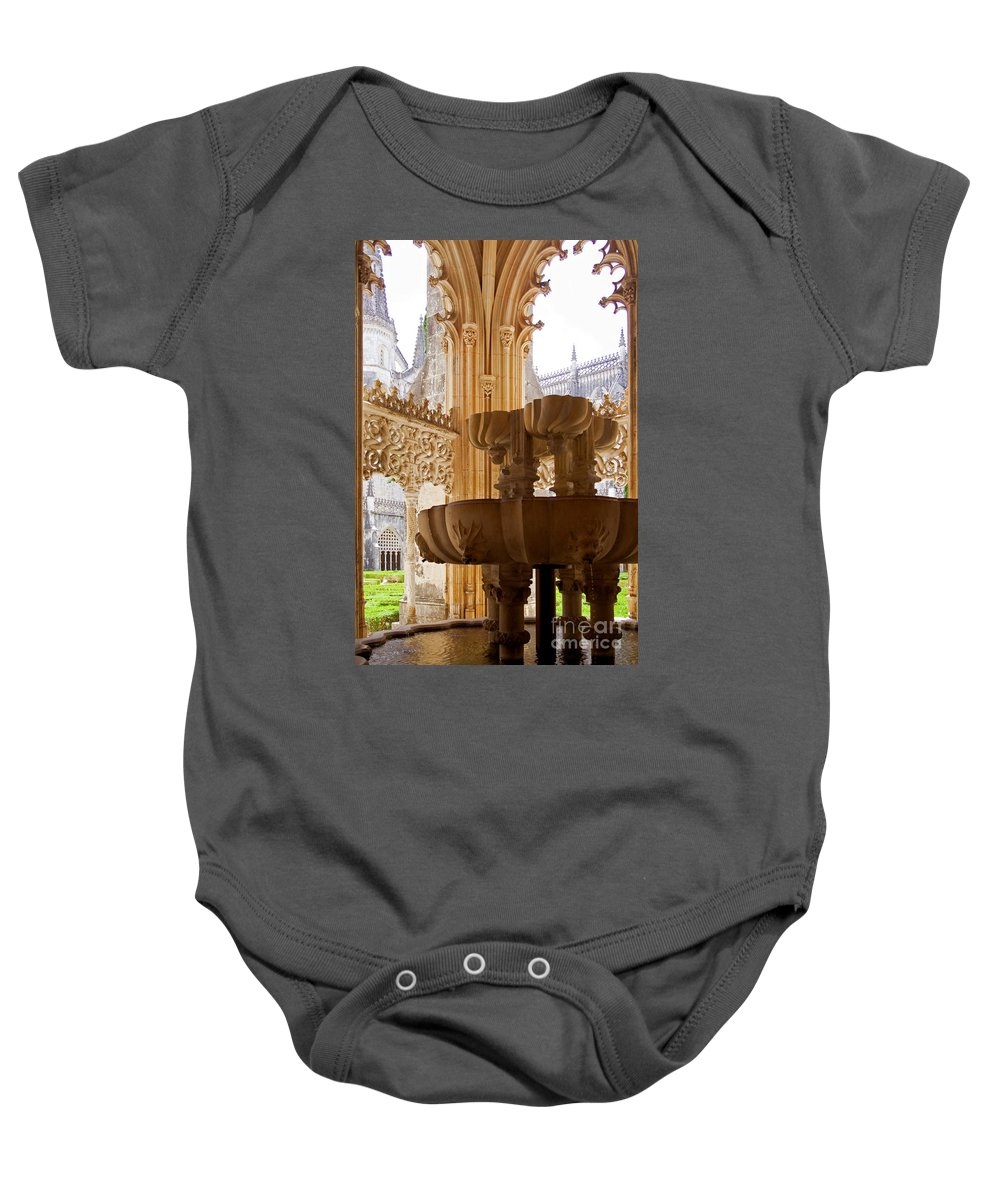 Gothic Baby Onesie featuring the photograph Royal Cloister Of The Batalha Monastery by Jose Elias - Sofia Pereira