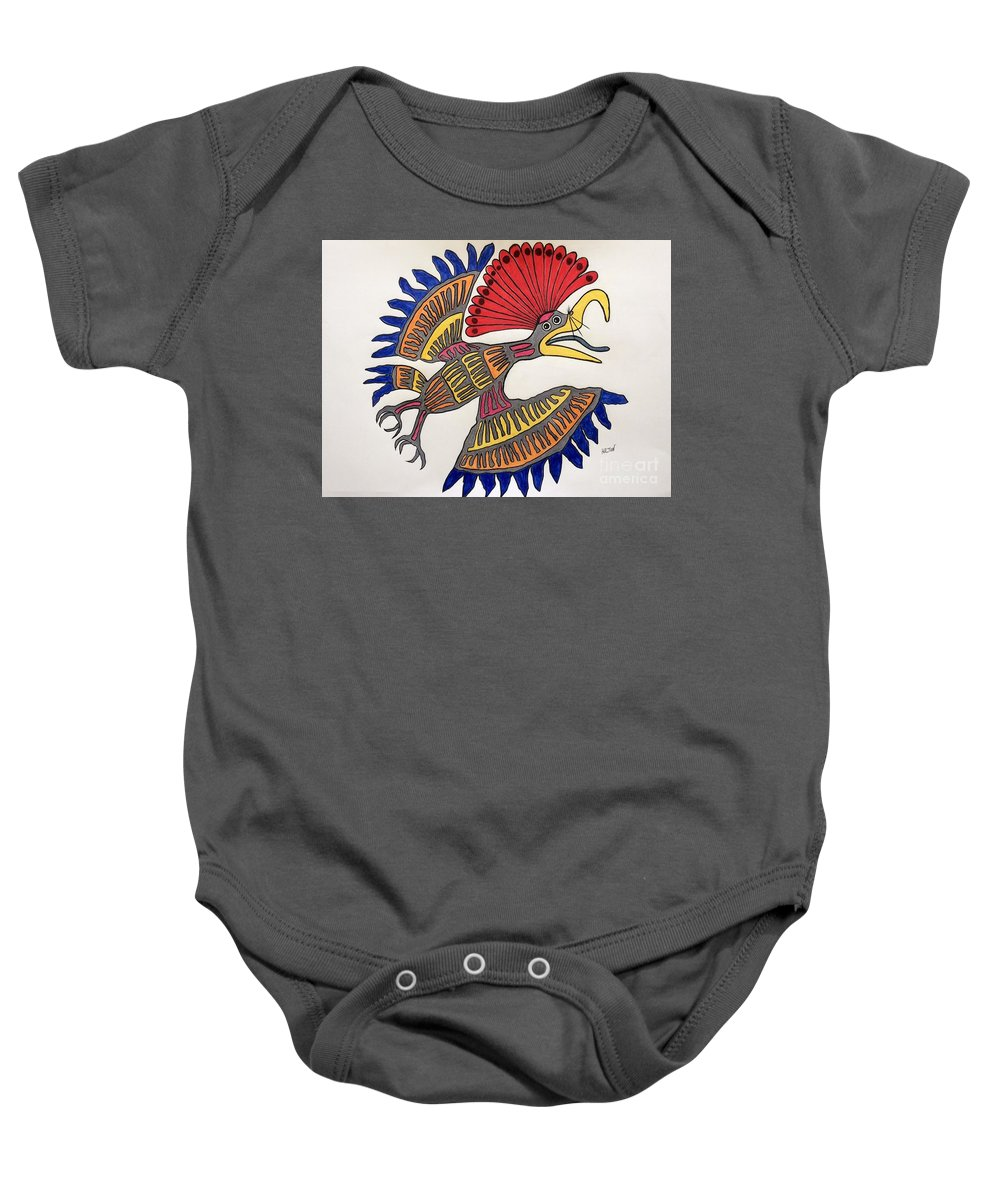 Nature Bird Royal Northern Flycatcher Mayan Baby Onesie featuring the pastel Royal Flycatcher- Mayan 2 by Graham Wallwork