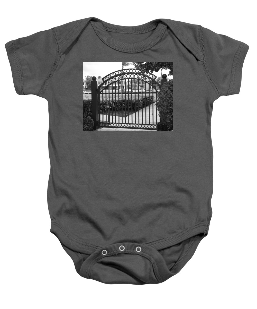Gate Baby Onesie featuring the photograph Royal Palm Gate by Rob Hans