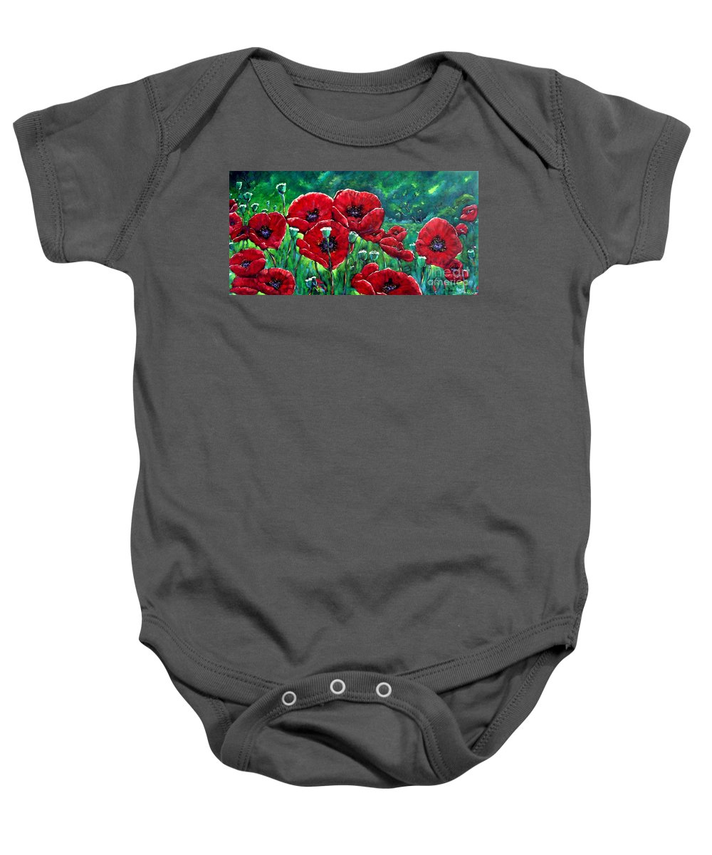 Forest Baby Onesie featuring the painting Rubies In The Emerald Forest by Richard T Pranke