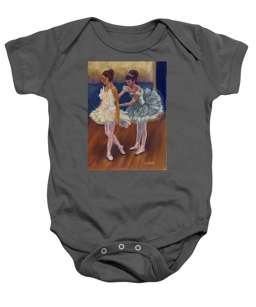 Ballerina Baby Onesie featuring the painting Ruffled Feathers by Sharon E Allen