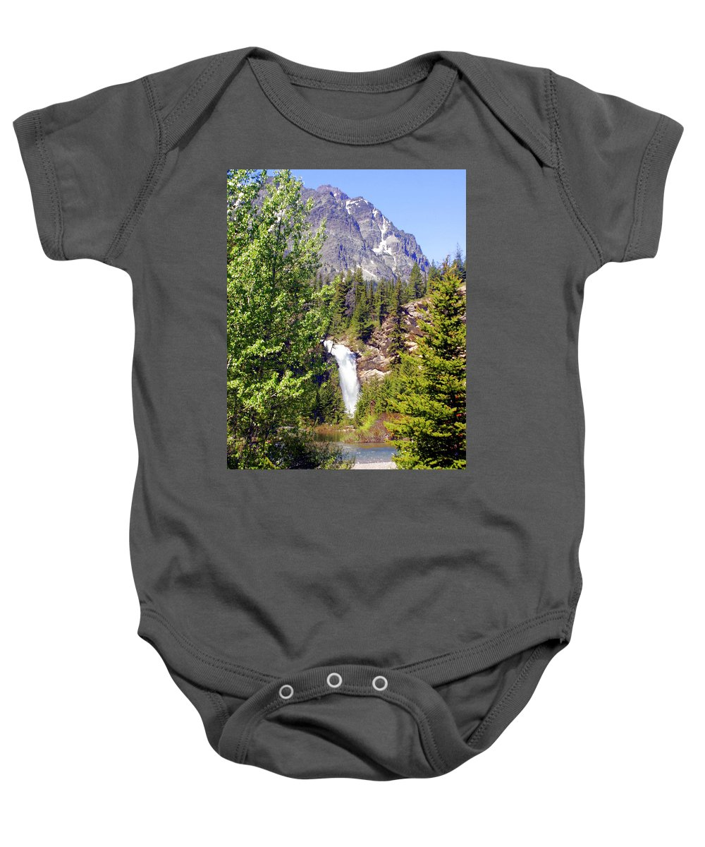 Waterfalls Baby Onesie featuring the photograph Running Eagle Falls Glacier National Park by Marty Koch
