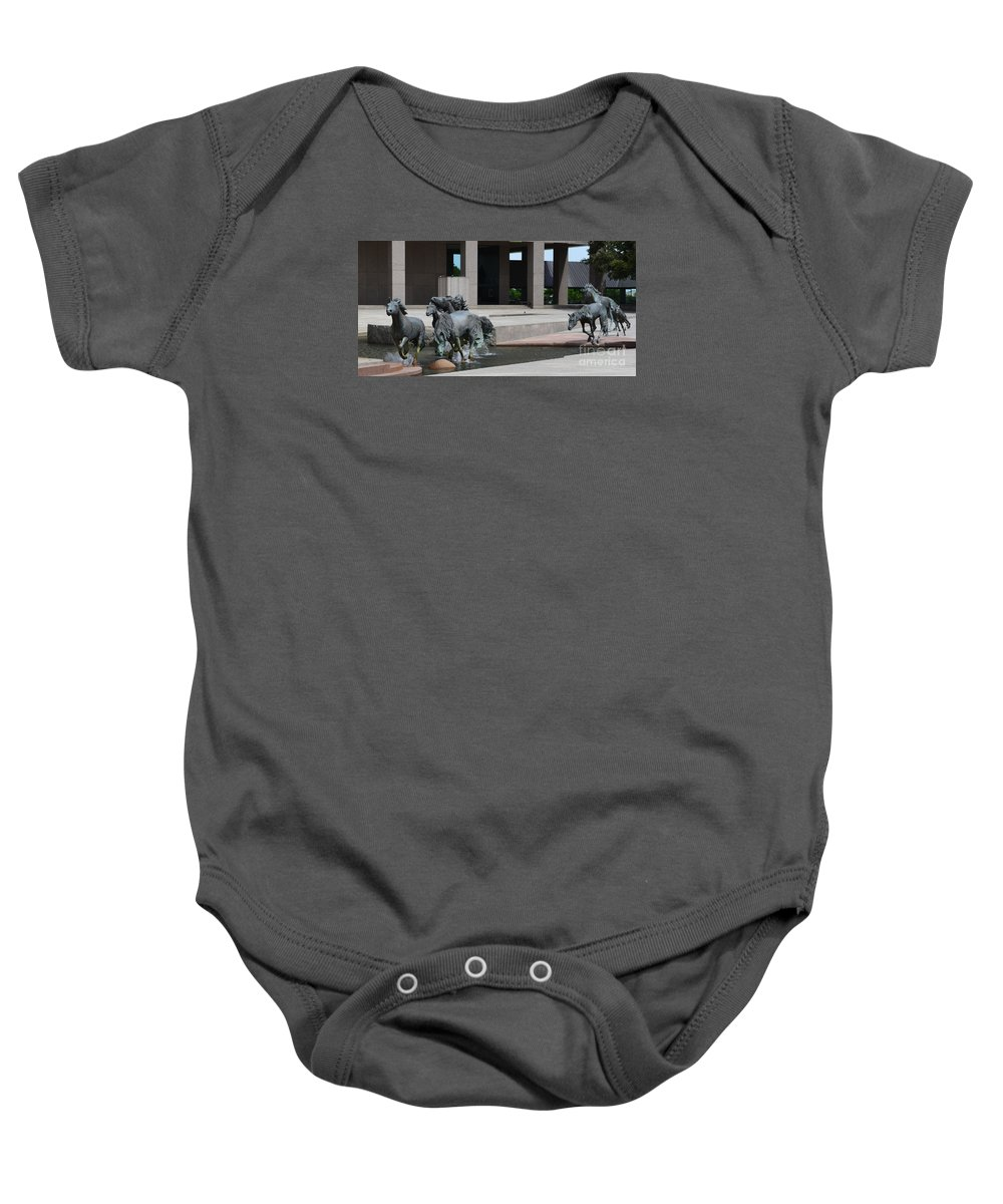 Running Horses Prints Baby Onesie featuring the painting Running Horses by Ruth Housley