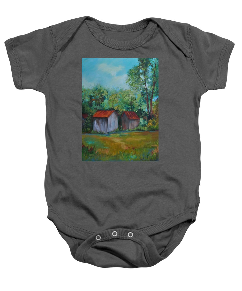 Outbuildings Baby Onesie featuring the painting Rural Architecture by Ginger Concepcion