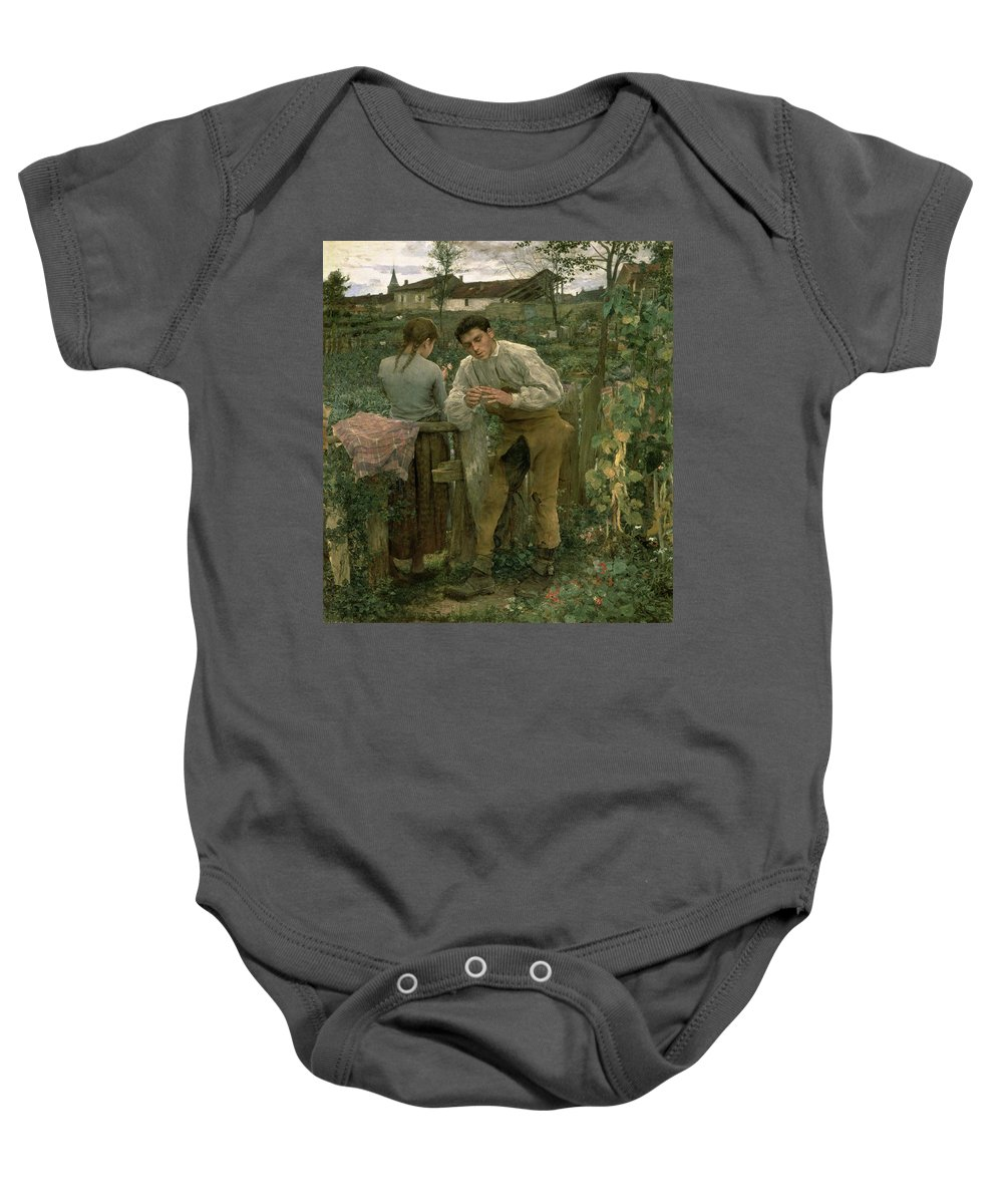 Valentine's Day Baby Onesie featuring the painting Rural Love by Jules Bastien Lepage