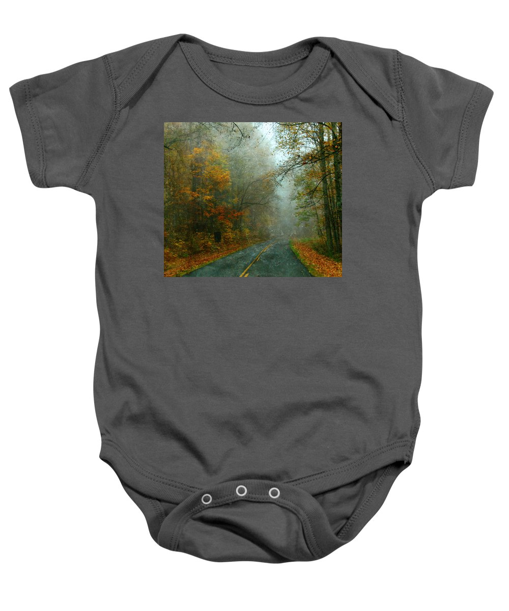 Road Baby Onesie featuring the photograph Rural Road In North Carolina With Autumn Colors by Jill Battaglia