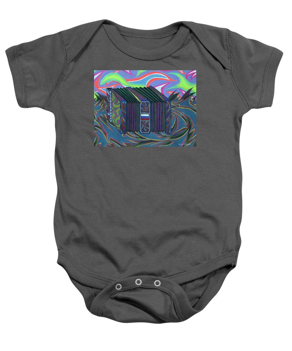 Music Baby Onesie featuring the painting Russian Accordian by Robert SORENSEN