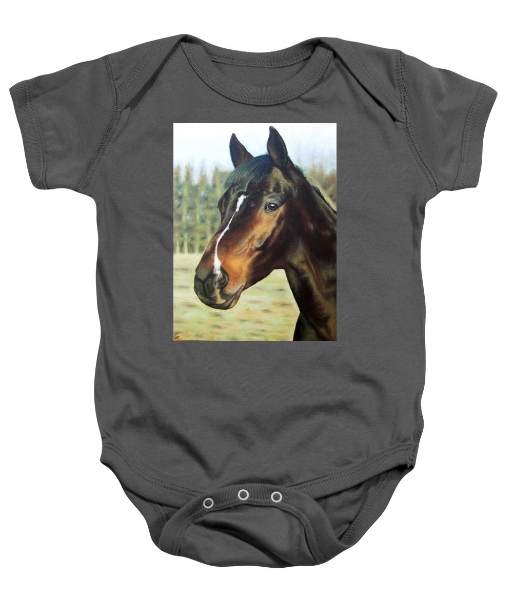 Horse Baby Onesie featuring the painting Russian Horse by Nicole Zeug