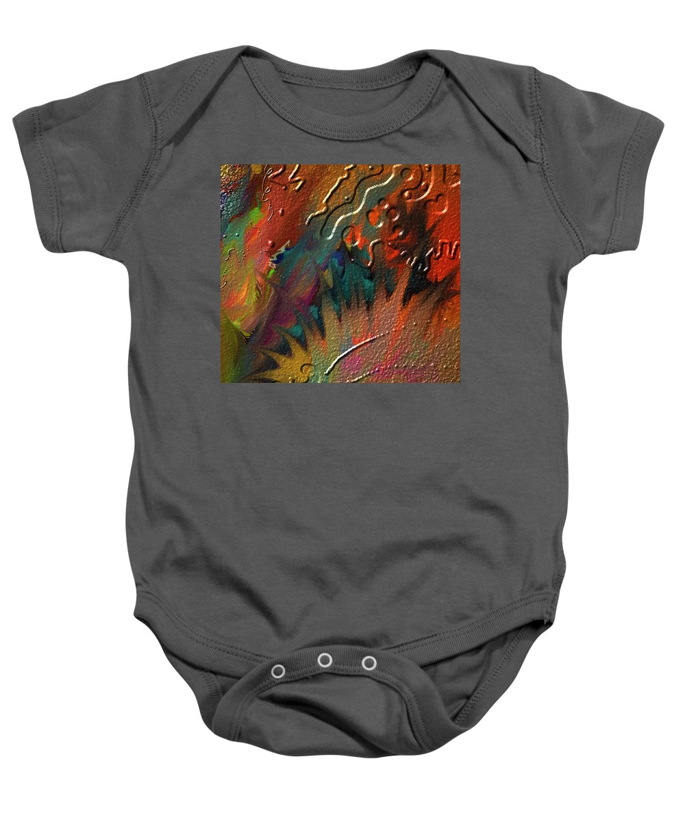 Abstract Baby Onesie featuring the painting Rust Never Sleeps by Kevin Caudill