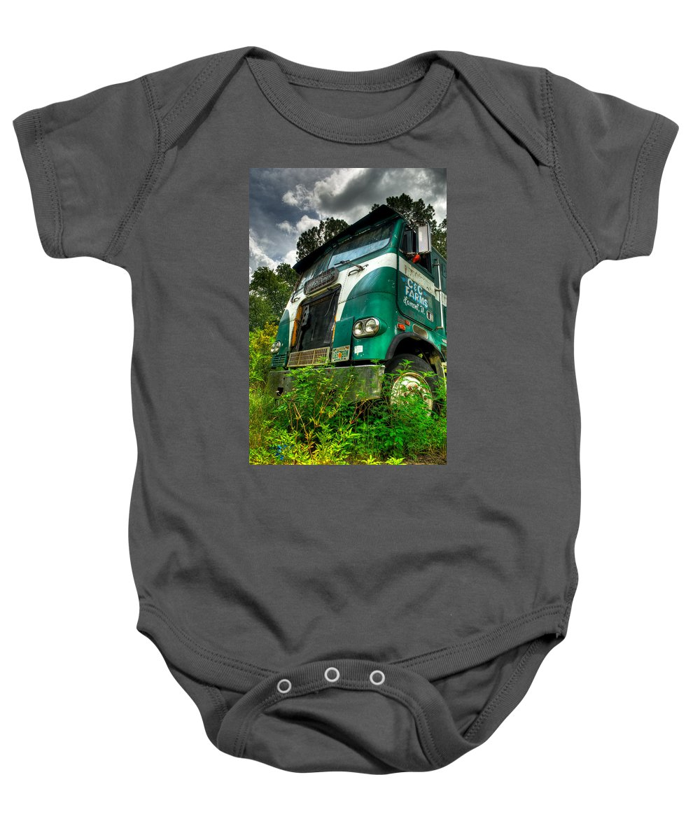Truck Baby Onesie featuring the photograph Rusted And Busted by Rich Leighton