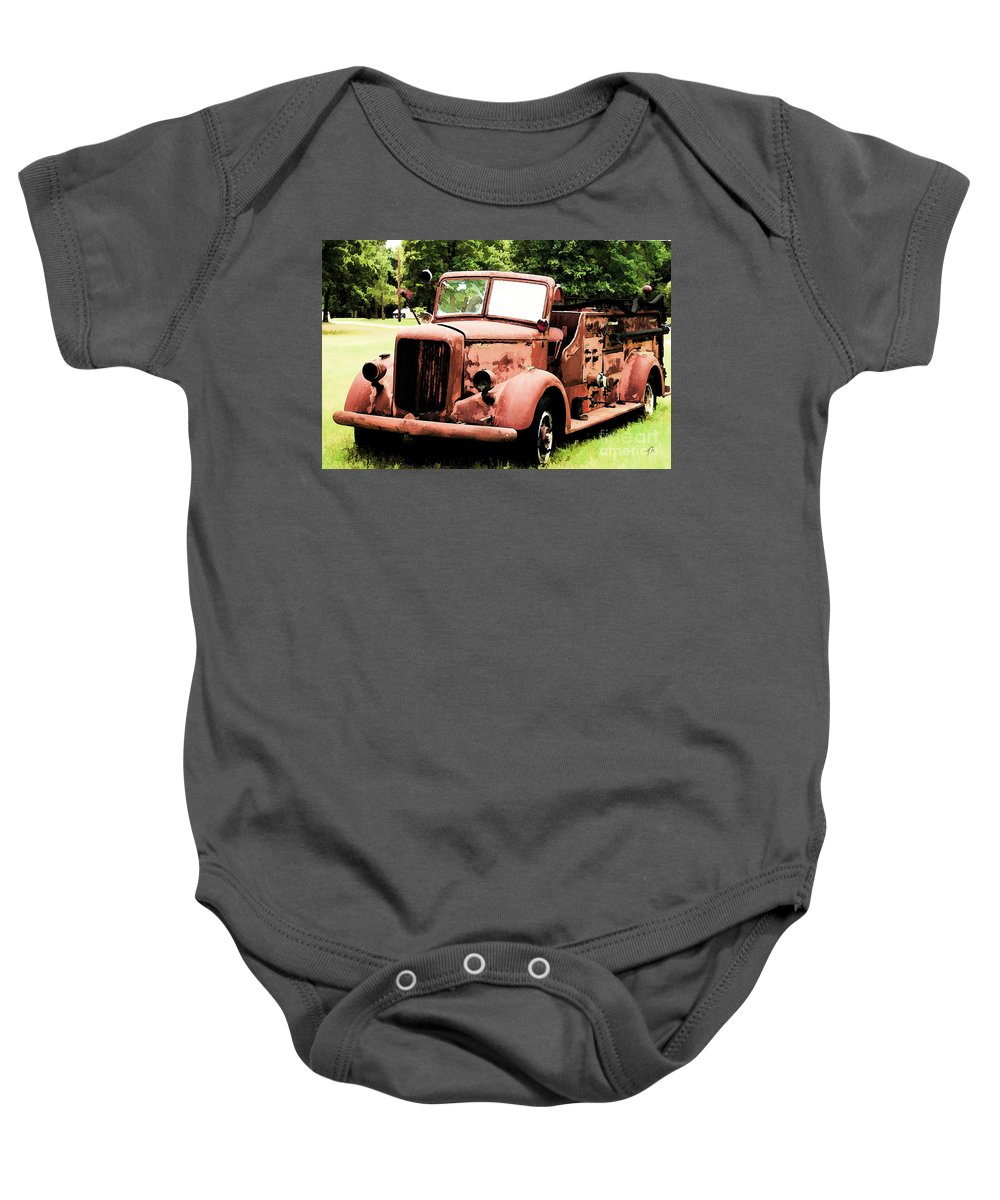 Mack Baby Onesie featuring the digital art Rusted Mack Fire Engine by Tommy Anderson