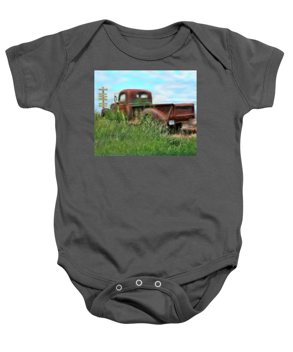 Rusted Out Trucks Baby Onesie featuring the painting Rusted Not Retired by Colleen Taylor